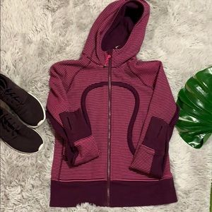 Lululemon scuba hoodie stretch plum stripe size 8